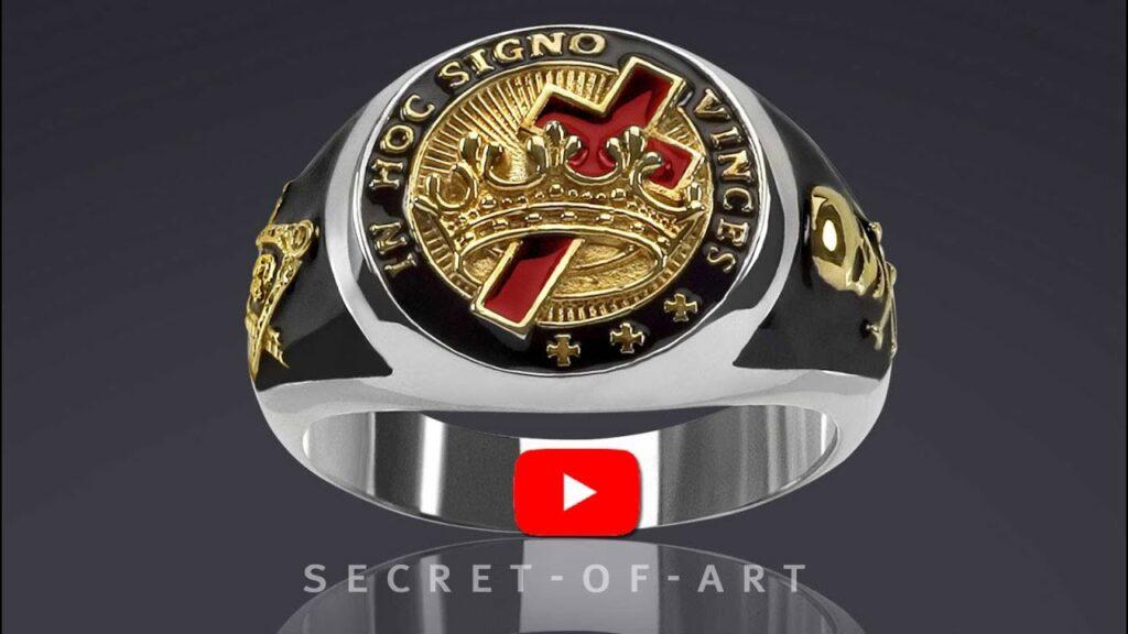 Knights Templar In hoc signo Masonic ring 925 Silver Freemasonry 24K-Gold-Plated