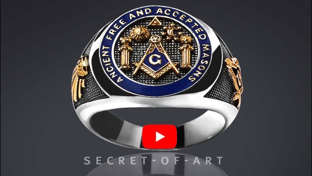 Masonic Ring AF AM AFAM Silver 925 24KGold-Plated Pillars Master Mason Size 8-13