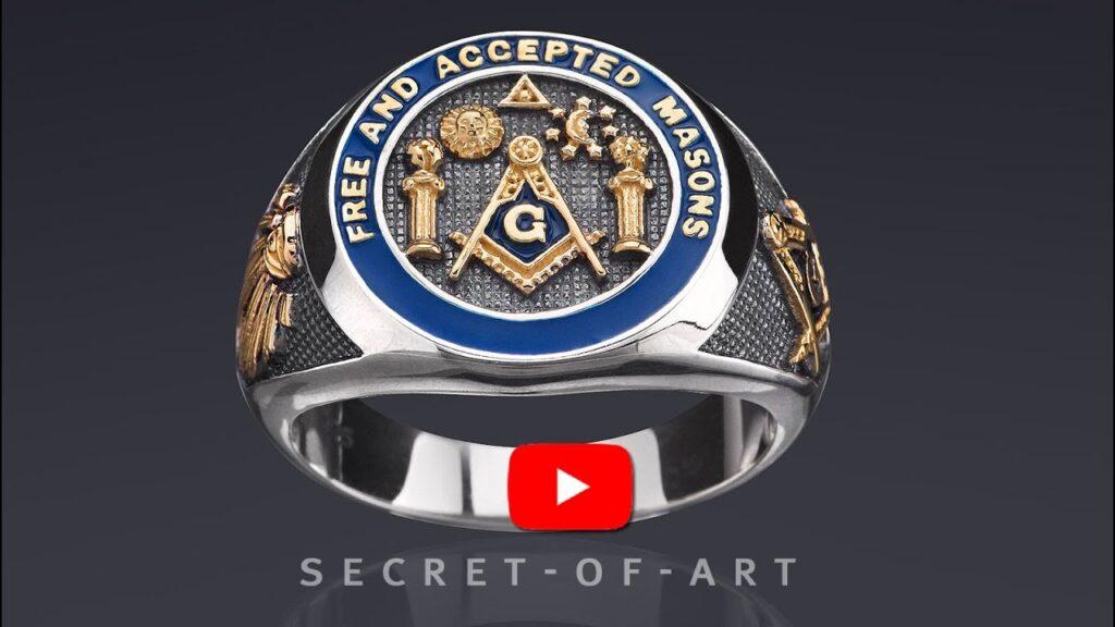 Masonic Ring Freemason F AM Free Accepted Mason Gift 925 Silver All seeing eye