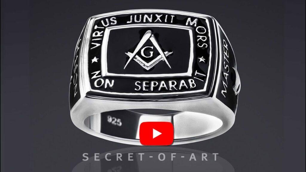 Masonic Ring Freemason Master Mason Silver 925 Sterling Virtus Junxit Skull