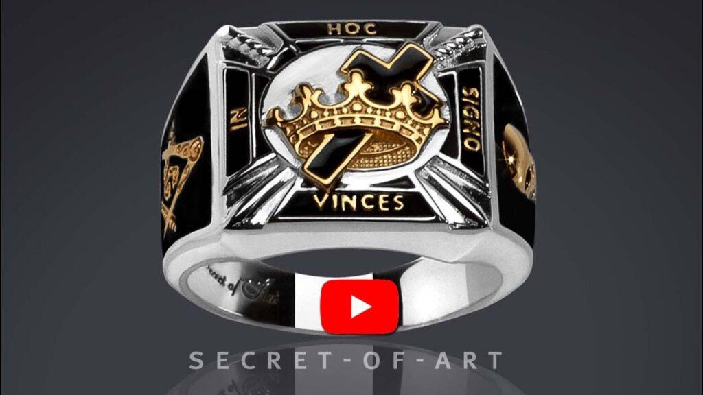 Masonic Ring Knights Templar Silver 925 Freemason Black In Hoc, 24K-Gold-Plated