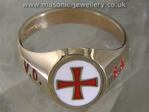 Masonic Ring – Reversible English Knights Templar Gold DAJ107