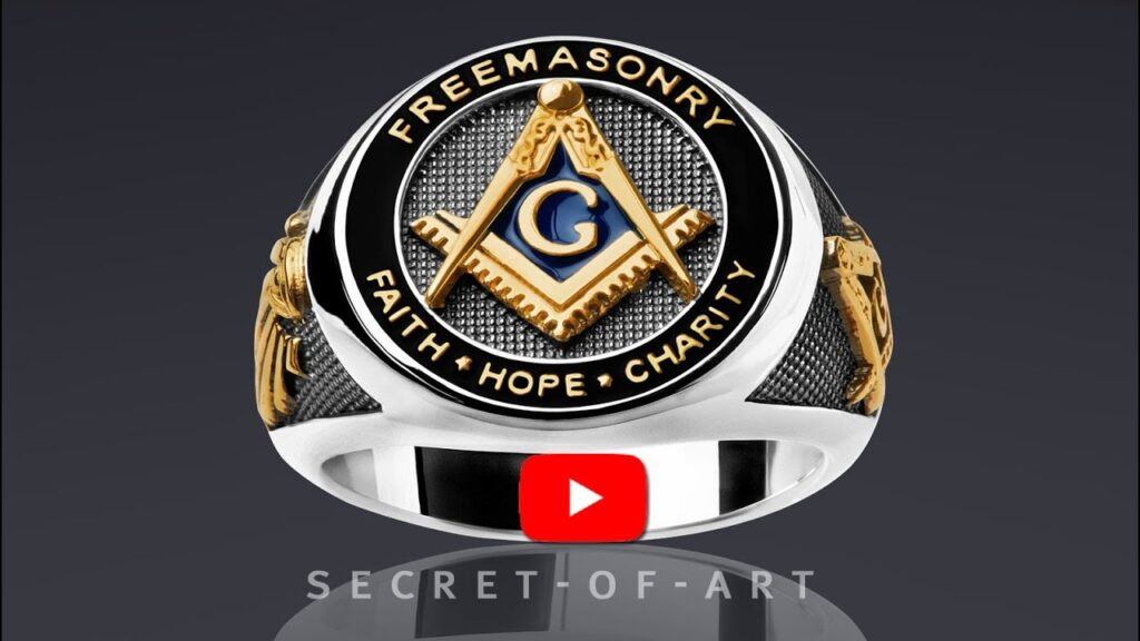 Masonic Ring Silver 925 Freemason Master Mason Faith Hope Charity 24K-GoldPlated