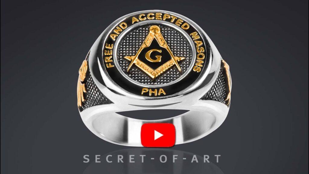 Masonic Ring for Freemason Masonry PHA Prince Hall 925 Silver & 24K-Gold-Plated