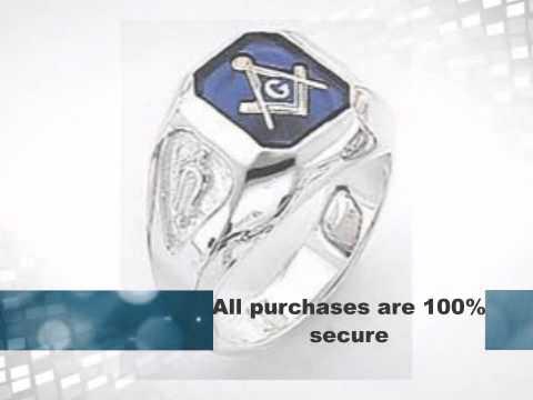 Masonic Rings – Sterling Silver Blue Onyx Masonic Ring