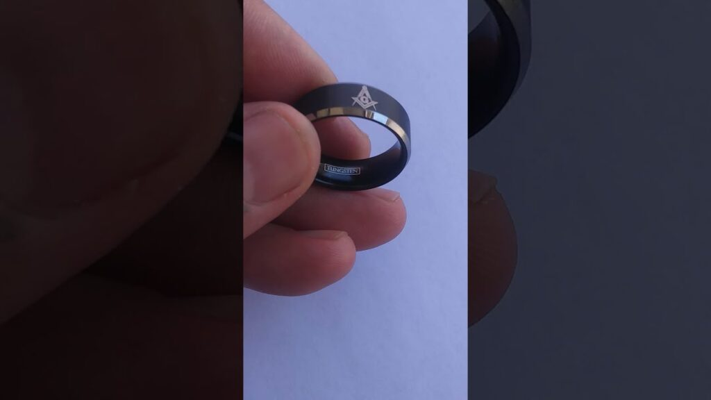 Masonic Tungsten Band, Tungsten Ring Masonic, Men's Tungsten Band, Masonic Ring For Men