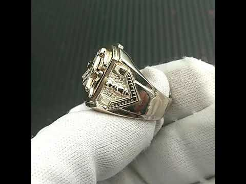 Sterling Silver Blue Lodge Masonic Ring 3rd Degree Master Mason Square and Compass