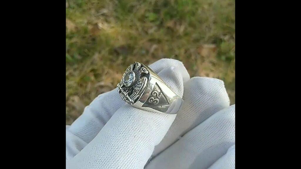 Sterling Silver Masonic Ring Scottish Rite Ring 32nd Degree Masonic Diamond Ring