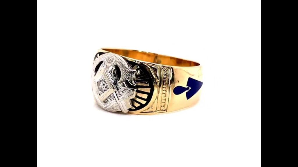 Vintage Ornate Diamond Men's Masonic Ring in 14k and 10k Yellow Gold; Lot 24A